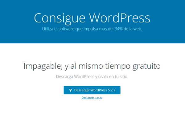 Descargar el paquete de instalación de WordPress