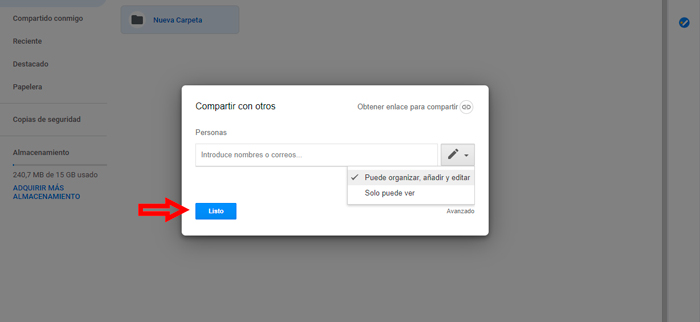 Compartir carpetas en Google Drive