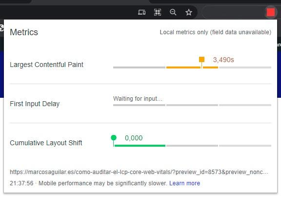 Web Vitals | Extensión de Google Chrome